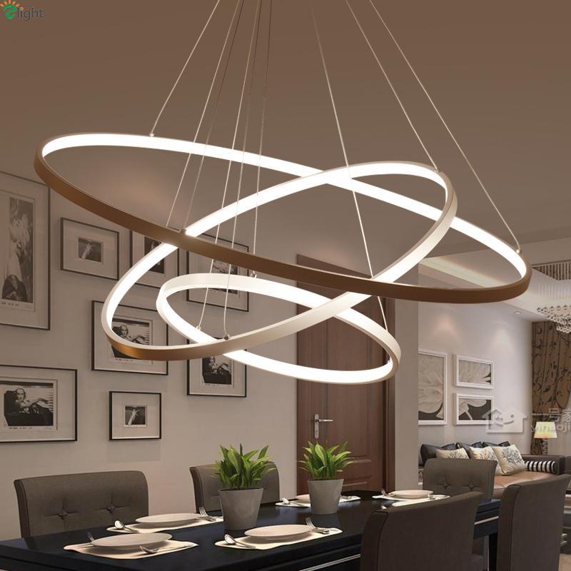 Acquista moderno fai da te in alluminio anello led ciondolo luce lampadario lustro camera da - Lampadario sala da pranzo moderna ...