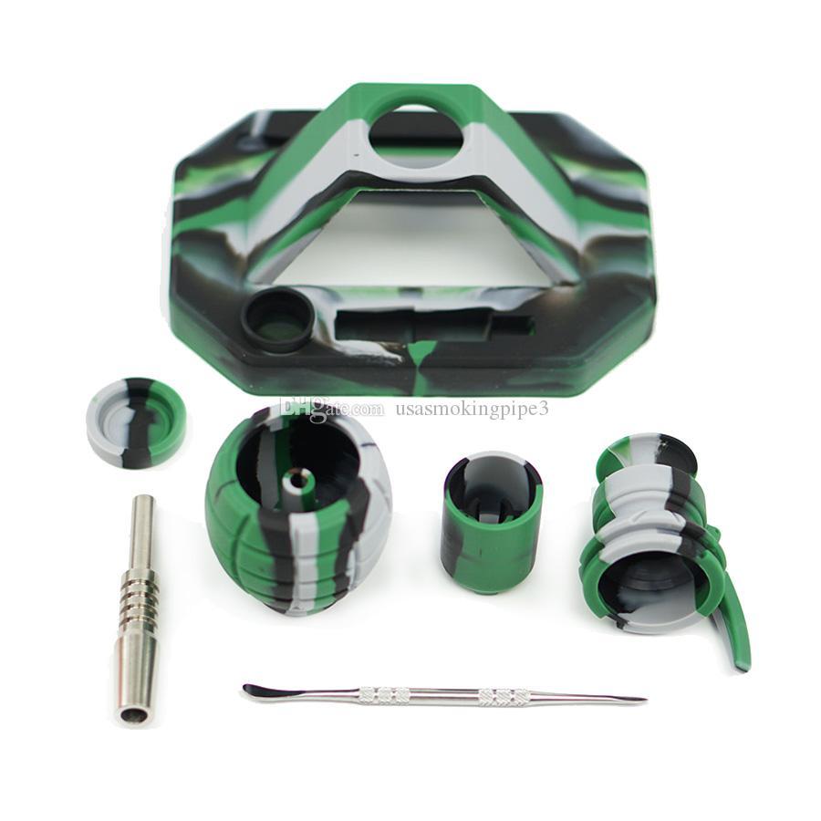 Новый дизайн Grenade кальян курить курить комплекты с 14 мм титанового Совета многоцветной воды силиконовой трубы бом