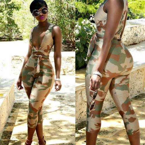 bb5cce5cd2c 2018 New Camo Clothes Set Sexy Women Camouflage Print Crop Top Vest Bra+High  Waist Pencil Pant Trouser Suit Lady Summer Clothing