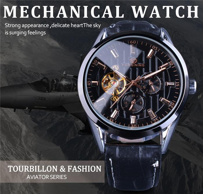 Forsining Men's Watch Fashion Tourbillion Design Hour Display Automatic Man Clock Black Genuine Leather Strap Wrist Watch