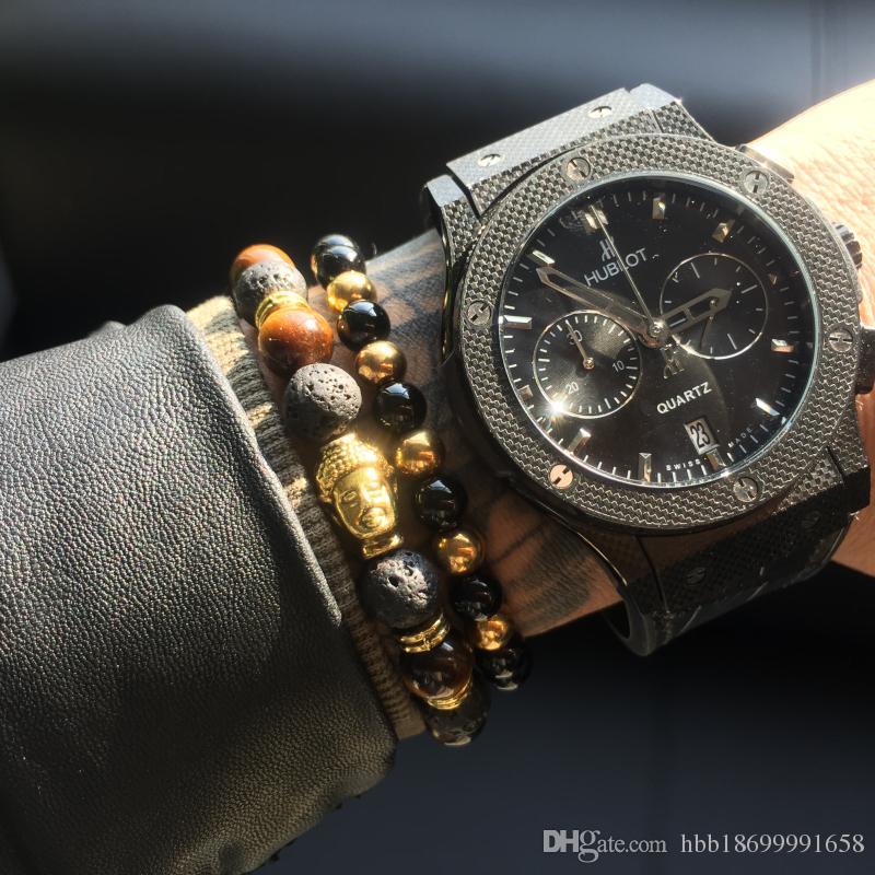 2 teile / satz Herren Armbänder Lava buddha armband Für Männer Naturstein Perlen Armband Geschenk Religion Yoga pulseras pulseira masculina