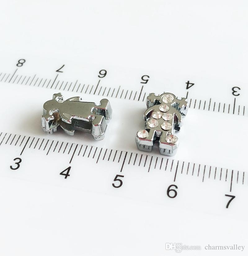 8mm Clear Rhinestone Boy&Girl Slide Charms Slide Letters Hang Pendants DIY Accessories Fit 8mm Belts, bracelets, necklaces