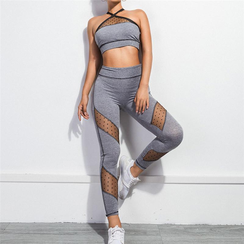 4b1b38fc323ce 2019 Set Women Workout Outfits Crop Tops And Leggings Sexy Stretch Boydcon  Sport Gym Clothing Running Fitness Yoga Set 30 From Booni, $40.36 |  DHgate.Com