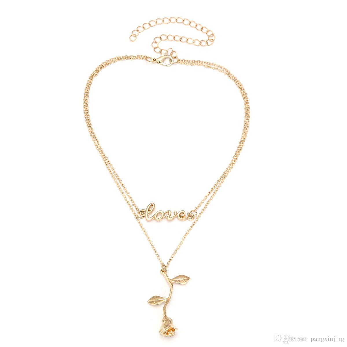 European and American jewelry, European fashion, romance, fashion, personality, ornaments, alloy letters, rose pendants, clavicle necklace.