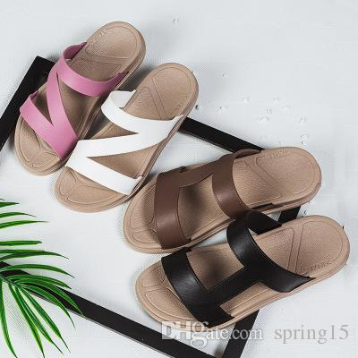 90e168eda7b0a New Summer Style Couple Flip-Flops Minimalist Slippers Flat Casual Sandals  Toed Non-slip Soft Bottom Beach Shoes Comfortable Online with  17.15 Piece  on ...