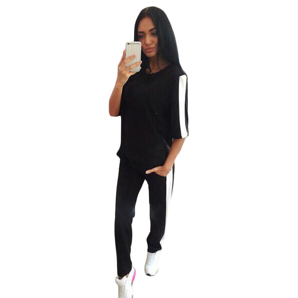 Autumn Winter Tracksuit Warm Thickening Stitching Sweatshirts Casual Suit Women Clothing Set Tops+Pants Suits