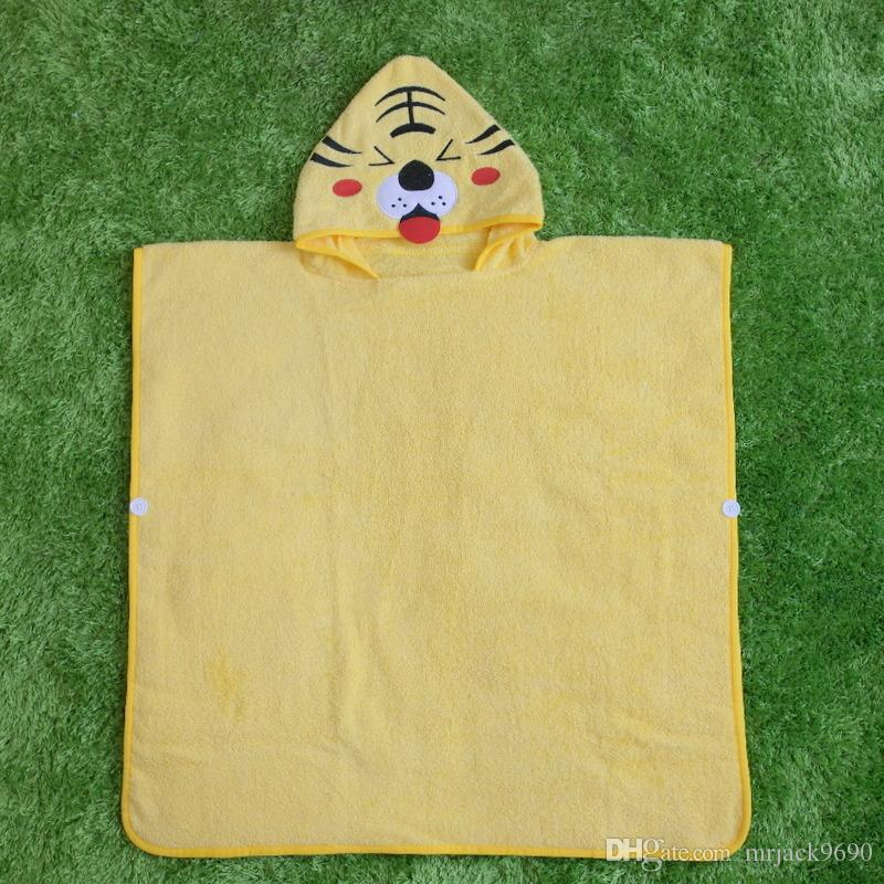 Korean Style Children Bathrobe Boys Girls Cartoon Cotton Animal Cape Poncho Hooded Towel Baby Kids Bath Towel Beach Towel For 5-13 Years Old