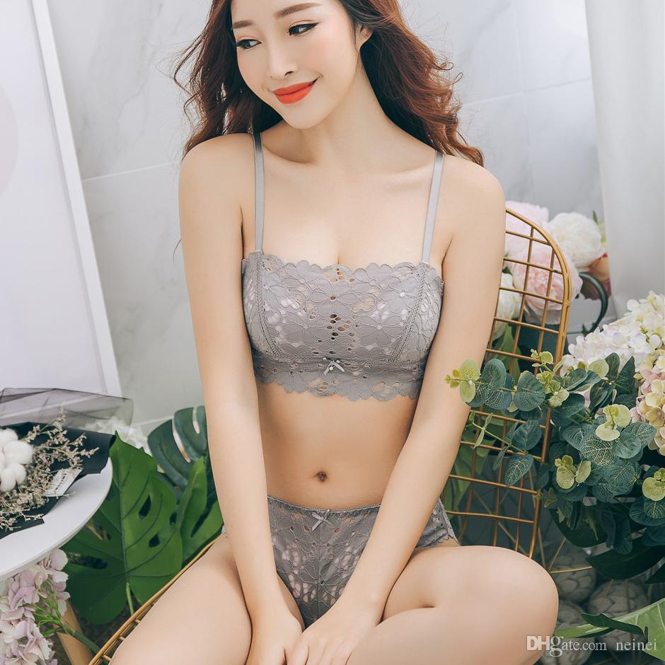 2019 Japan Women Underwear Sexy Hollow Out Lace Bra Set Seamless Embroidery  Lingerie Young Girl Push Up Dress Bra And Panty Sets From Neinei 22125a4b789