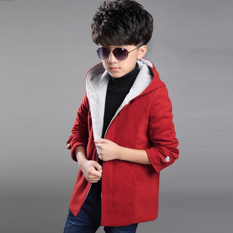 Casuais Crianças Casacos de Inverno Meninos Casaco 2017 Nova Espessamento Com Capuz Outono Inverno Crianças Outerwear Boy Jaqueta Outwear Para 6-16 Ano