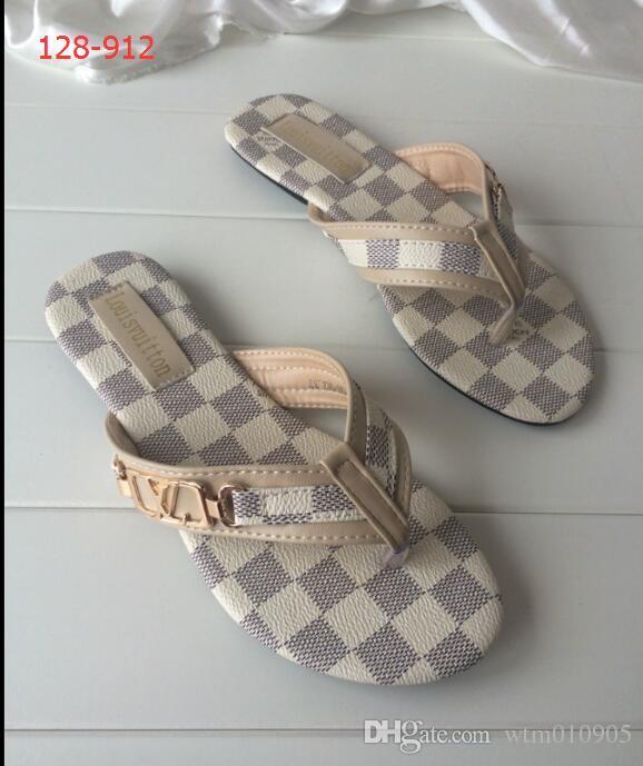 Große Designer Flach Rutschig Sandalen Mode Schuhe Flip Größe Luxus Mit Marke Slipper Frauen Sommer Neue Flops Breit PkuZOXi