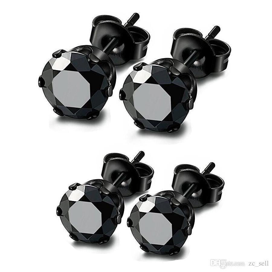 Wholesale Stud Earrings Round Cubic Zircon 316L Stainless Steel Black Ear Studs Men Women Earring 3mm-8mm ZCST141-Black