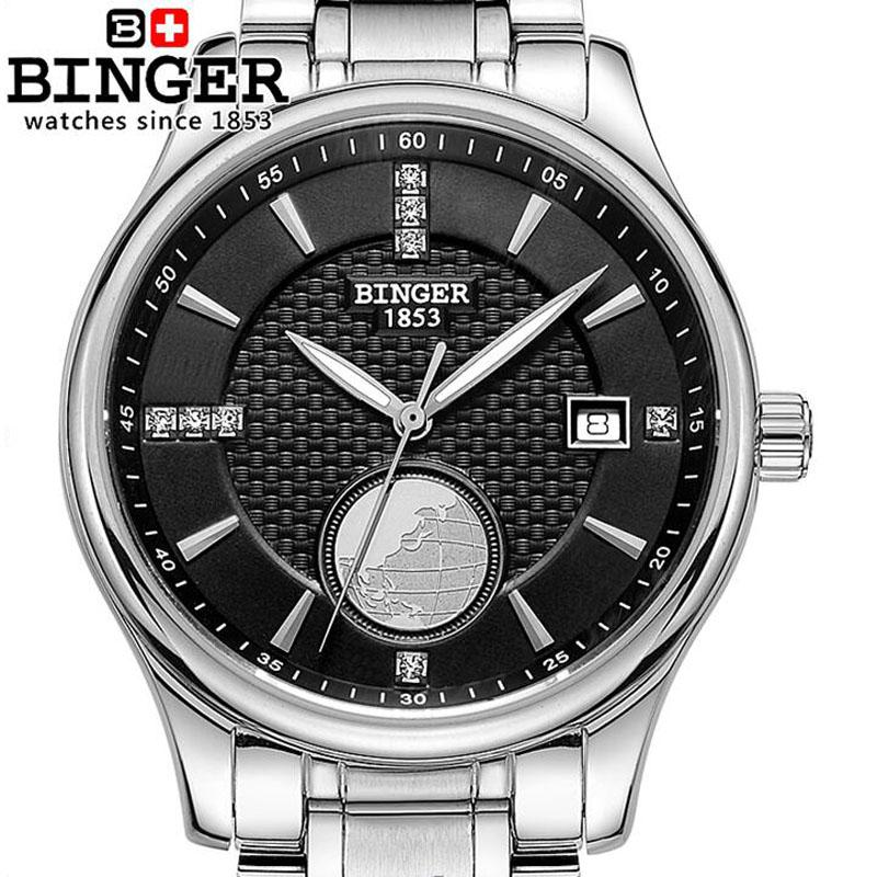 Switzerland BINGER  Series Men Waterproof Watches Stainless Steel Strap Sapphire Glass Automatic Mechanical Watch Mens
