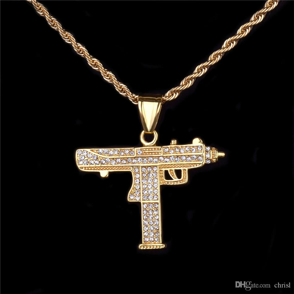 Wholesale BlingBling Gun Pendant Necklace Gift Gold Color Charm Iced Out  Rhinestone Submachine Gun Men S Hip Hop Jewelry Free Rope Chain Mens  Necklace ... b14955b54440