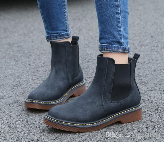 2a4dd45f254432 Women Chelsea Boots Plus Size 42 2017 New Spring Ankle Martin Boots British  Womens Flat Boots Solid Women S Fashion Shoes WD 0001 Waterproof Boots  Western ...
