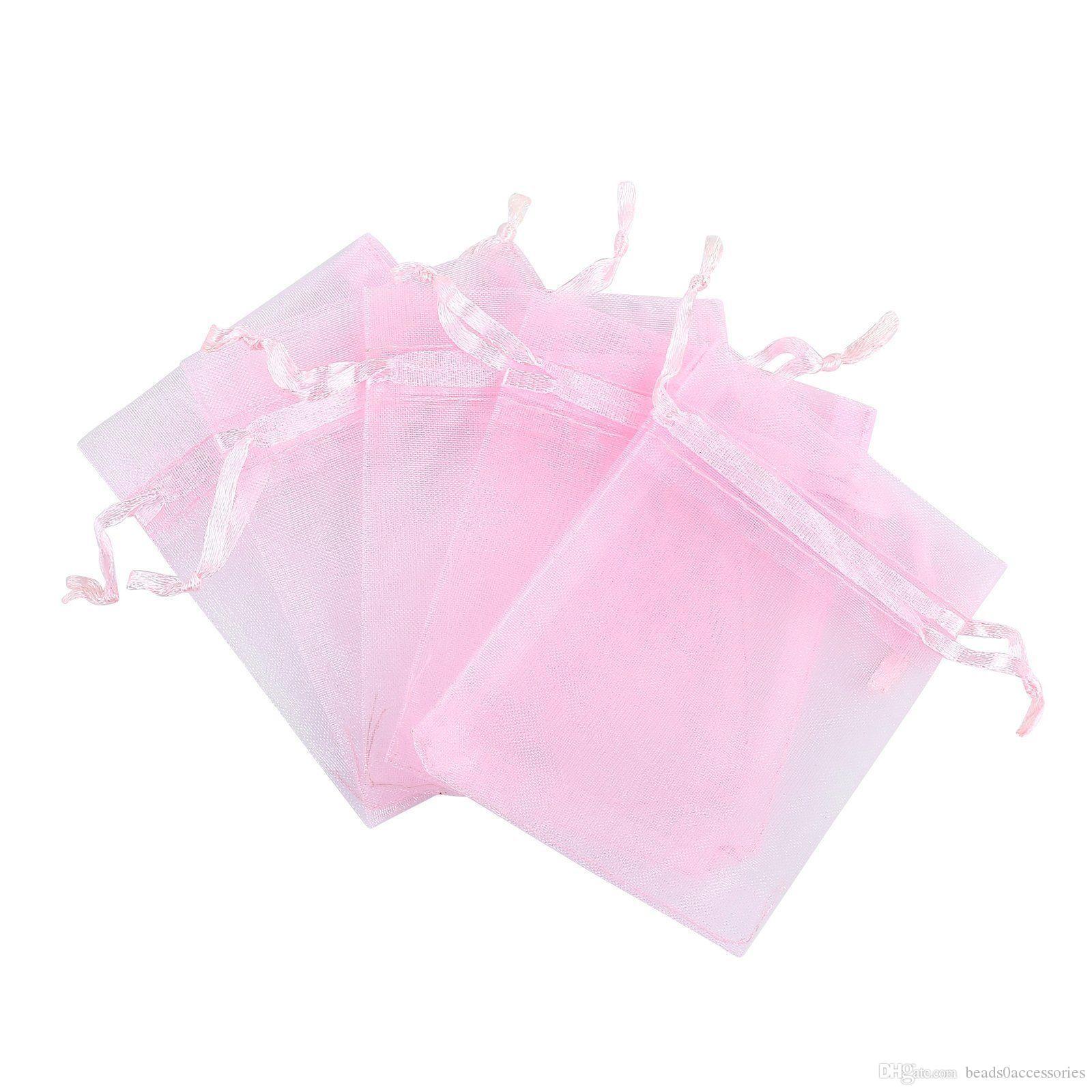 Sıcak satışlar ! PINK İpli Organze Hediye Çanta 7x9cm 9x12cm 10x15cm Düğün Noel takı Bags Favor