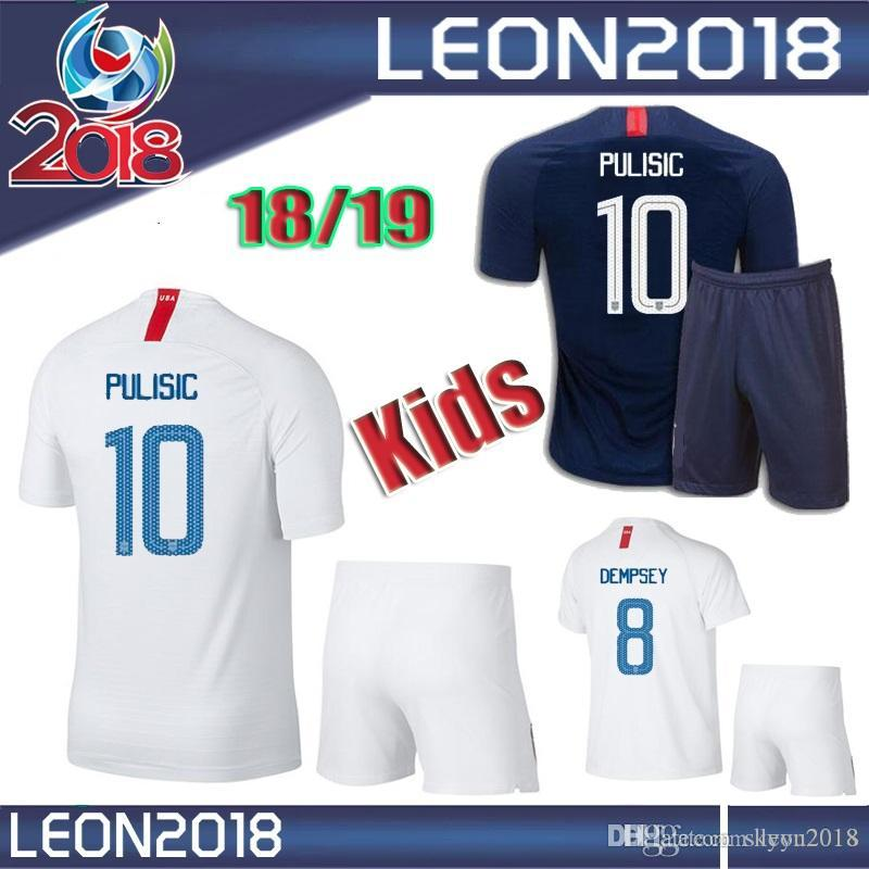 Kids Kits 2018 2019 USA PULISIC Soccer Jersey 18 19 DEMPSEY BRADLEY ... ad8e02936