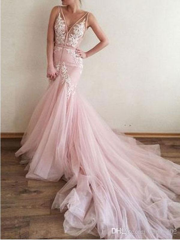 Sexy Backless V Neck Long Mermaid Evening Dresses 2018 Glamorous Lace Appliques Pearls Evening Gowns Pink Tulle Sweep Train Prom Party Dress