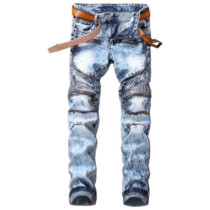 Großhandel 2018 Mode Männer Skinny Jeans Männer Runway Slim Racer Biker  Jeans Strech Hiphop Männer Dünne Gerade Elastische Reißverschluss Hosen Von  Bigseaa, ... 100a642294