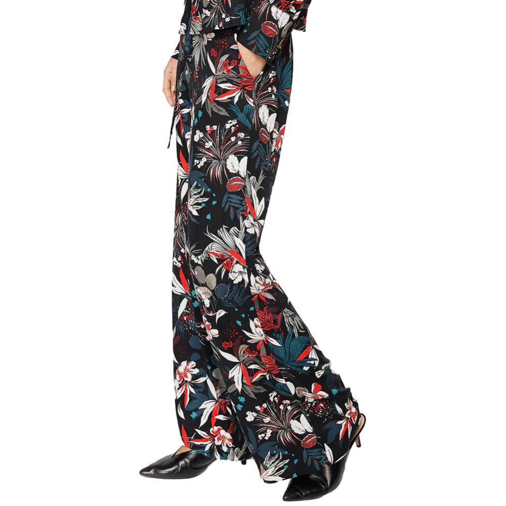 6743e7510f Compre Boho Pantalón De Flores Para Mujer Colorido Estampado Floral Cordón Ancho  Pantalones De Pierna Recta Palazzo Pantalones Casuales Ropa De Fiesta Negro  ...