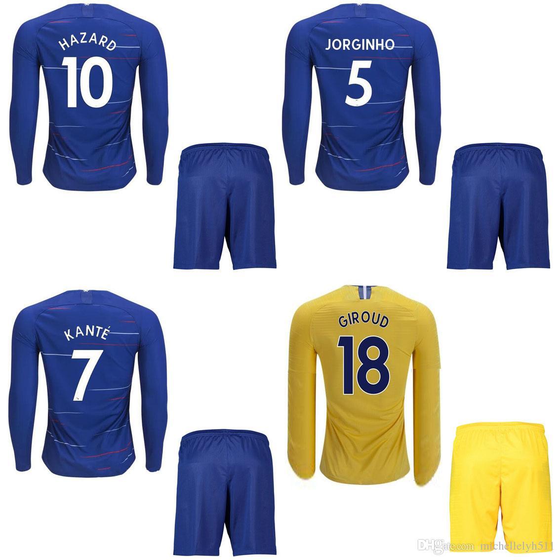 2019 18 19 New Long Sleeve Soccer Kits For Men Home Away 2018 19 HAZARD  MORATA KANTE JORGINHO Footbll Jersey Shorts Adult Sports Training Sets From  ... 60ba92ad3