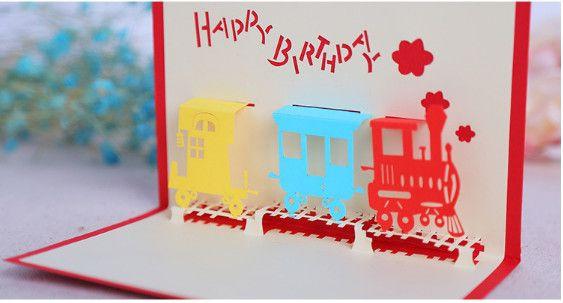 Grosshandel Alles Gute Zum Geburtstag Zug 3d Pop Up Handgemachte