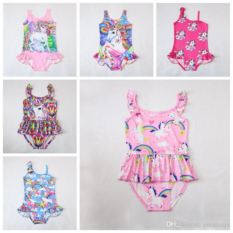 DHl free 6 styles top quality 2018 summer kids unicorn swimwear cartoon Bikinis girls unicorn Swimsuit