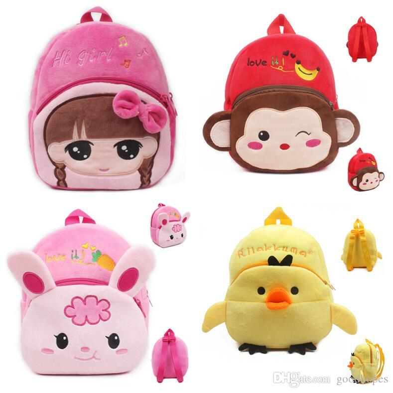 Plush Cartoon Kids School Bags Kindergarten Boy Girl Backpacks Cute ... a990aa7cd0fda