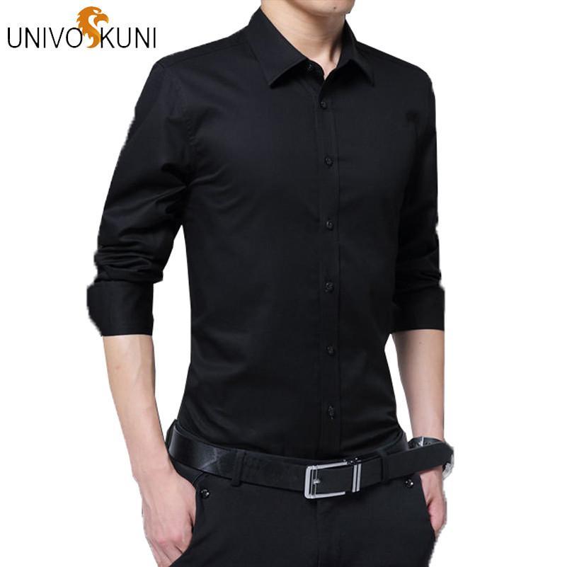 Acquista UNIVOS KUNI Camicie Mannen 2019 Nuove Camicie Moda Uomo Smart Casual  Camicia Di Cotone Di Colore Solido Camisas Masculina Plus Size 5XL H352 A  ... 07b123d6cf4
