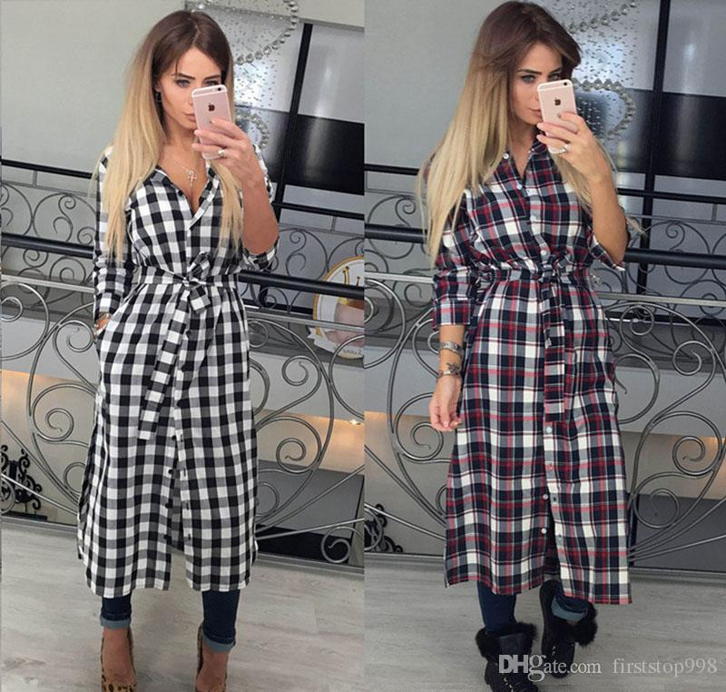 37a0738de88 Vintage White Red Plaid Print Shirt Dress New Women Winter Dresses Fashion  Long Sleeve Maxi Dress Plus Size Work Wear White Dresses With Sleeves For  Juniors ...