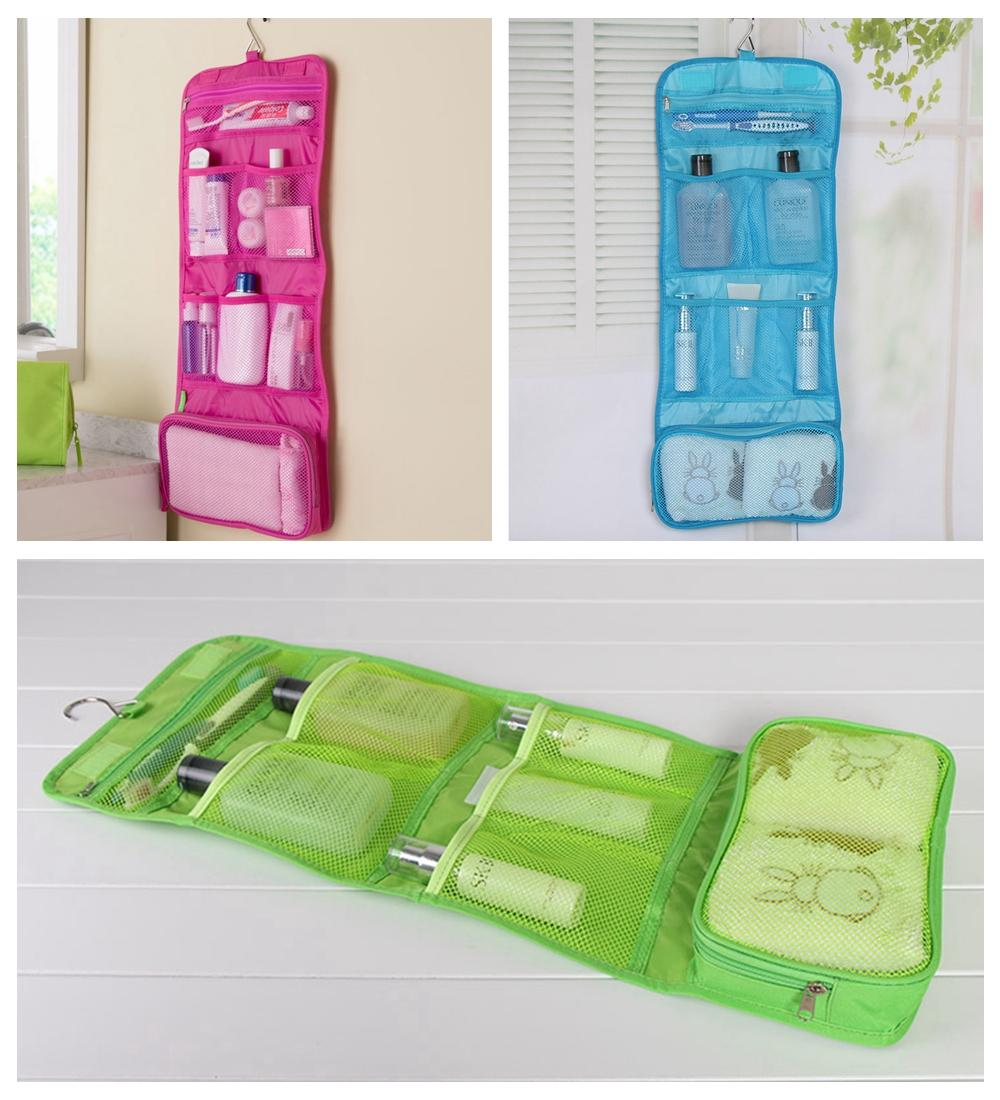 fbe3c51b1b31 Portable Foldable Travel Cosmetic Case Makeup Bags Hanging Toiletry Bags  Bathroom Storage Bag Traveling Organizer DDA516