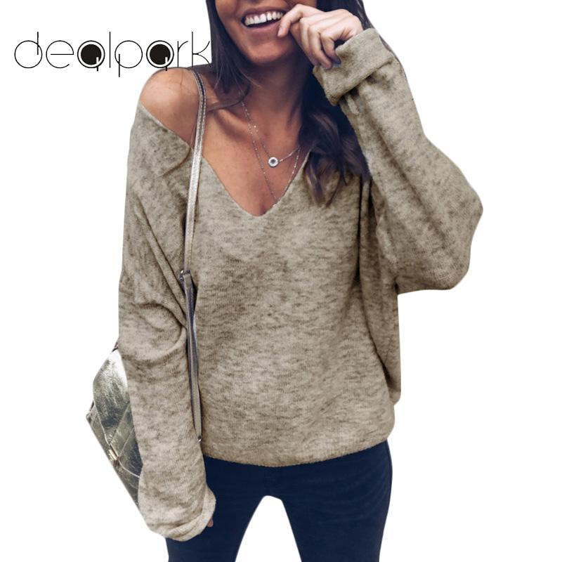 New Fashion Women Plunge V-Neck T-Shirt Solid Color Batwing Long Sleeve Autumn Winter Loose Casual Top Tshirt Black/Khaki/Grey