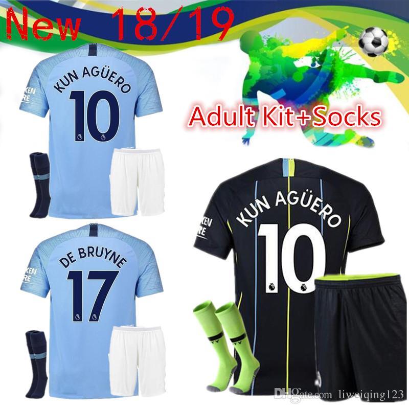 1f6cac810 18/19 Manchester City Adult Suit +Socks Home Away MAHREZ KUN AGUERO ...