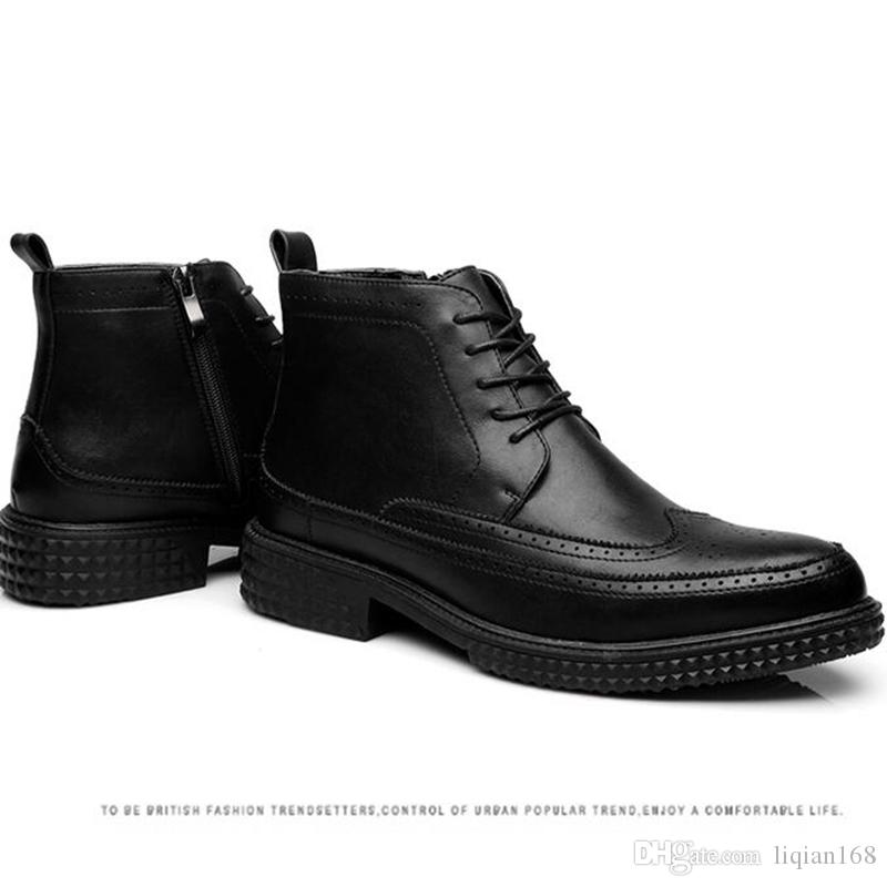 High fashion Men Leather Boots British Style Men's Ankle Boot For Autumn Winter Male Nubuck Dress Shoes