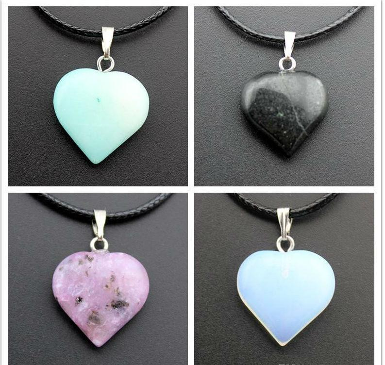 Stone Necklace Jewelry Cheap Healing Crystals Point Turquoise Amethyst Rose Quartz Chakra Natural Stone Pendants Rope Leather Necklaces