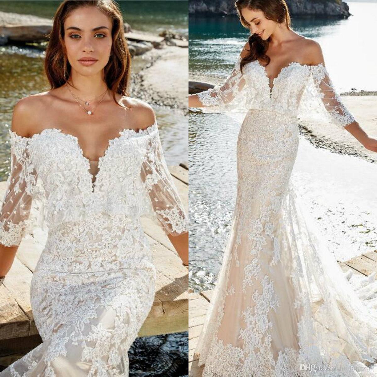 8f78e3097bf6 Eddy K. Dreams 2019 Wedding Dress Off Shoulder Lace Half Sleeve Appliques  Mermaid Wedding Dresses Customized Beach Bridal Gowns Plus Size Formal  Dresses Tea ...
