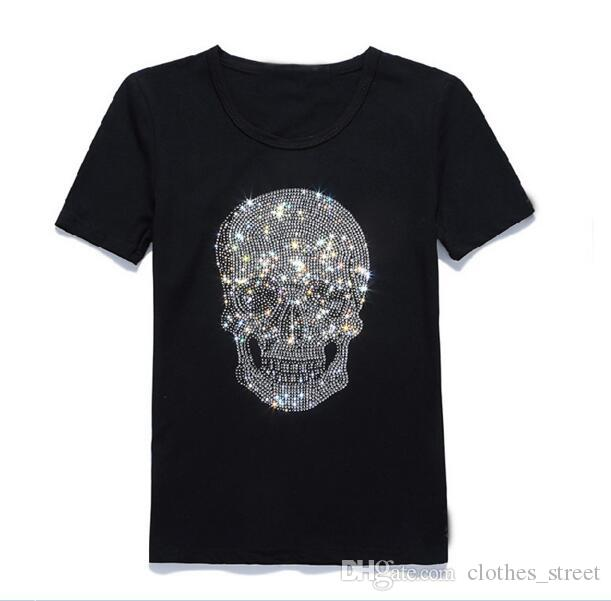 New Tide Marca Mens Short Fit Slim Casual TSHIRTS Stampa 3D Teschi di strass Desinger MENS Cotton T-shirt