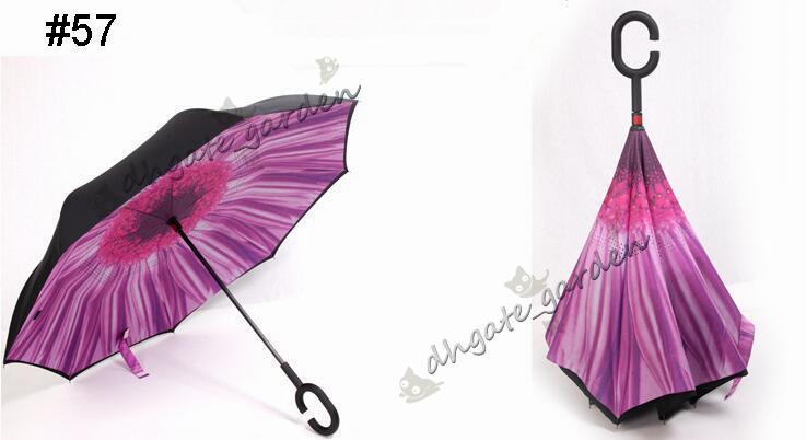 i Ombrelli rovesciati creativi a doppio strato con manico C o maniglia J rovesciata rovesciata Ombrello antivento Disponibile in molti colori