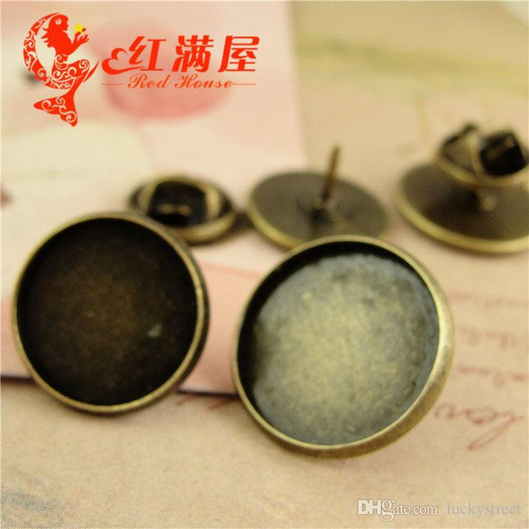 A3996 Fit 14MM 16MM Zinc alloy plating ancient bronze round earring blanks, earring setting bases time gem thorn pin retro metal accessories