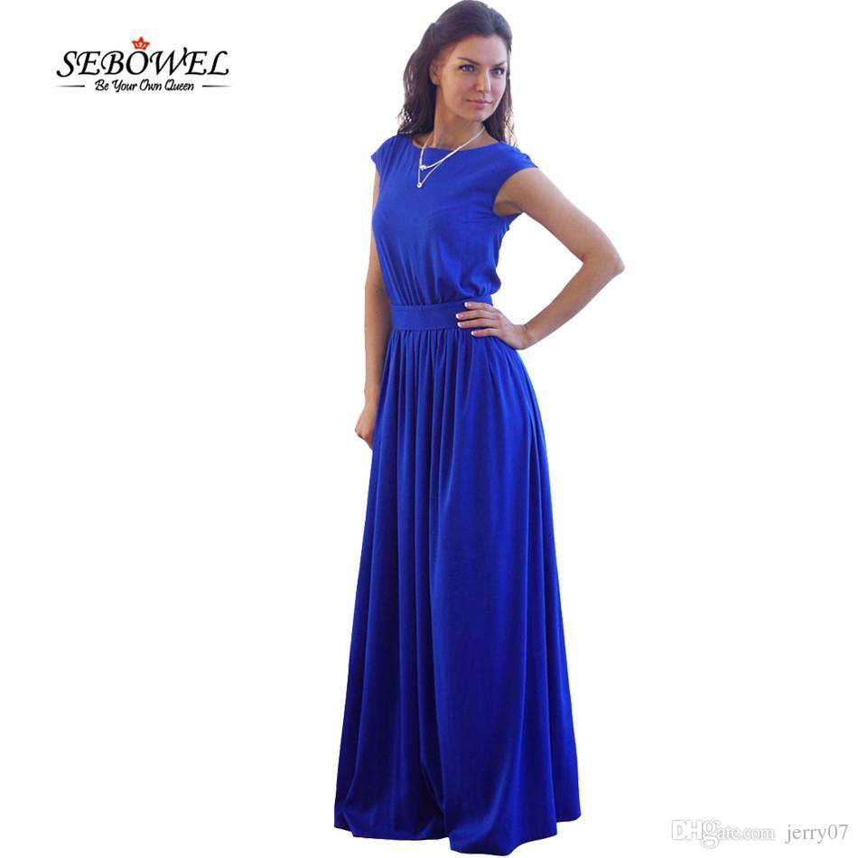 c3359ed45c6 High Waist Pleated Floor Length Royal Blue Elegant Evening Party ...
