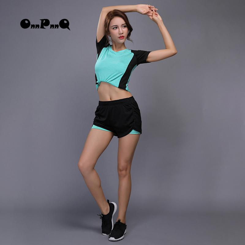 Compre OnnPnnQ Yoga Set Ropa Deportiva Para Mujeres Running Fitness Camisa  De Manga Corta + Pantalones Cortos Polainas De Yoga Ropa De Gimnasio  Jogging ... e72d8922ef67
