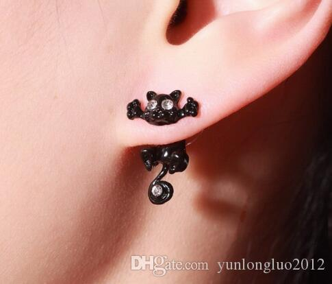 2018 wholesale Vintage Cat earrings fashion design cats Naughty studs