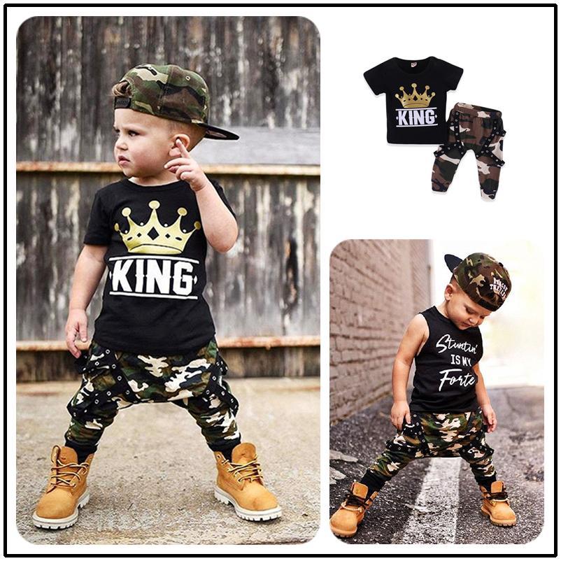 f9d315de8591d Mikrdoo 2018 Summer Baby Boy Clothes Short Sleeve Black T-Shirt Tops  Camouflage Pants 2PCS Outfit Set Children s clothing Outfits