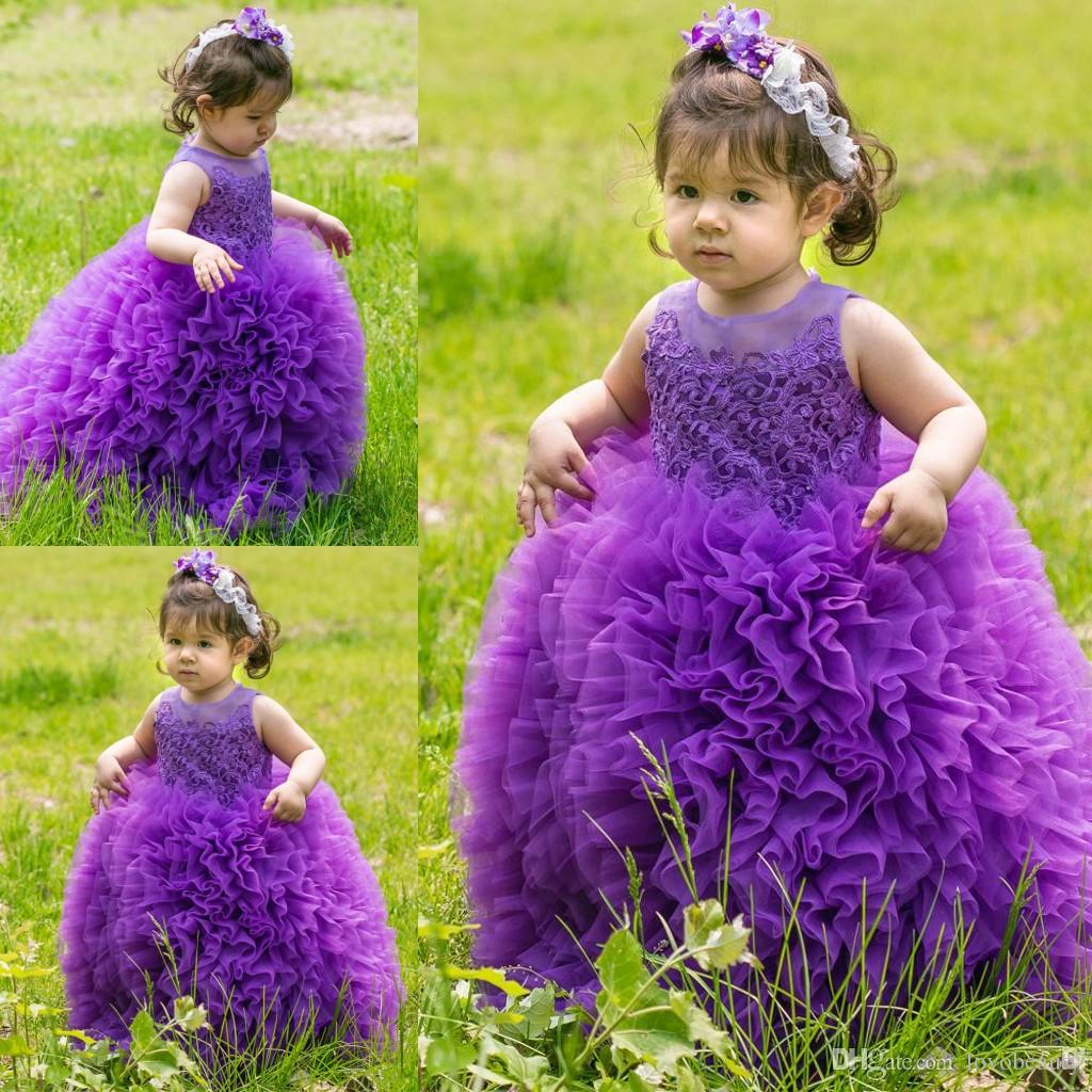 Purple Cute Long Flower Girl's Dresses 2018 Lovely Sheer Crew Neck Lace Bodice Toddler Tiered Ruffles Skirt New Girl's Pageant Dresses
