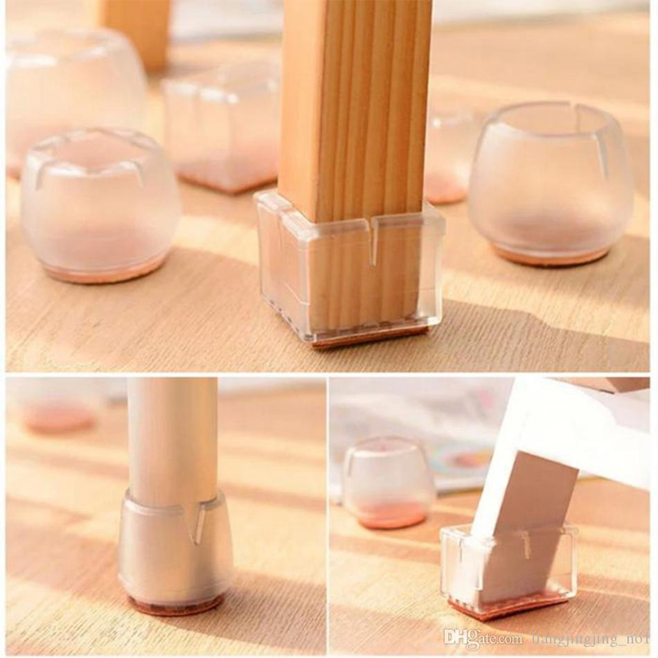 Silicone Rectangle Square Round Chair Leg Caps Feet Pads Furniture Table Covers Wood Floor Protectors OOA4877
