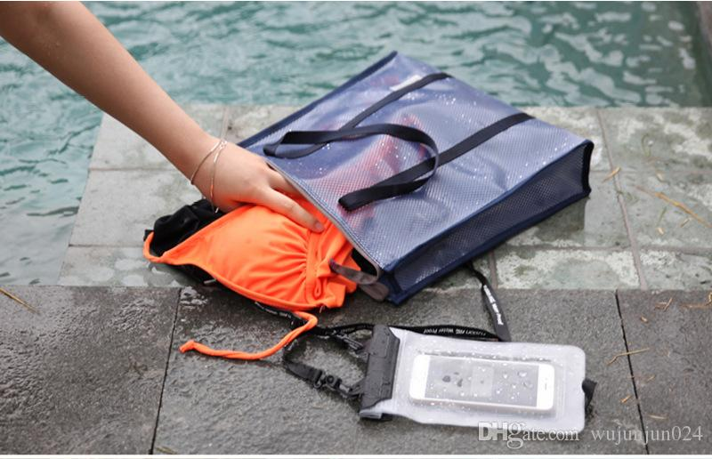 SHUSHIRUO Women Grid Transparent Handbags Summer Beach Sieve Washing Storage Bag Light Carry Seaside Soild Organizer Swimming Tote