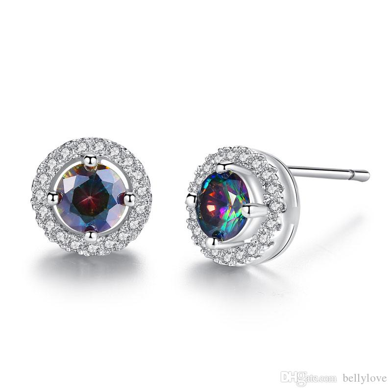 973289673 18K White Gold Plated Big Multicolor Round CZ Clear Crystals Full Paved 8MM  Small Stud Earrings Fashion Party Jewelry for Women Girls Earrings Small ...