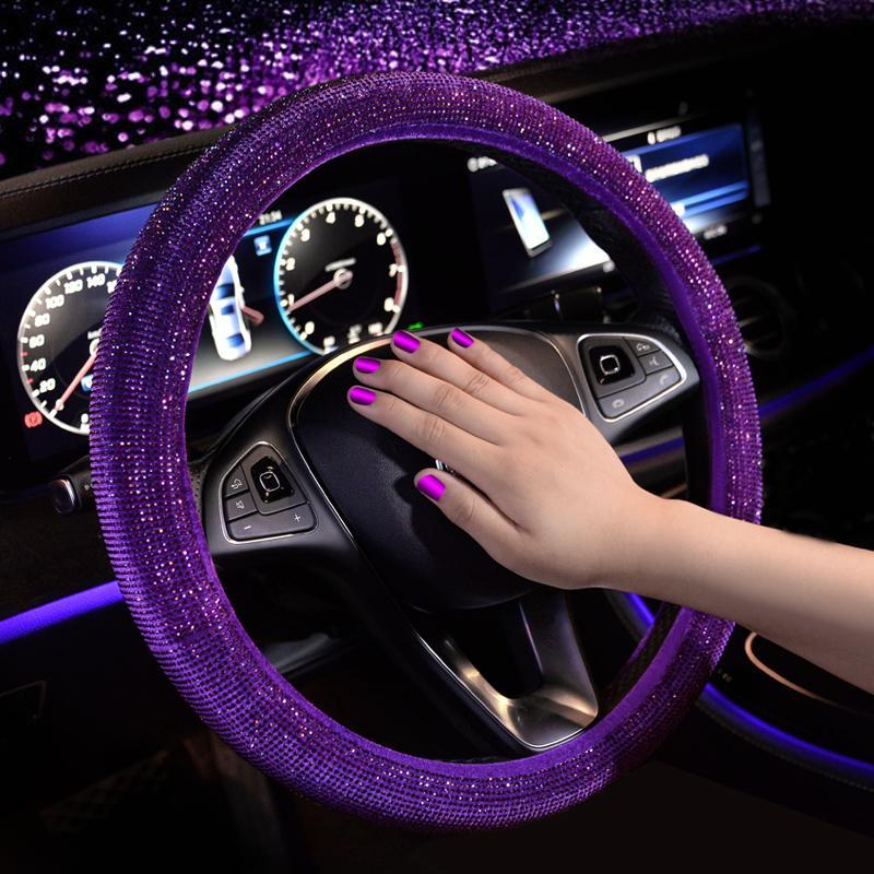94606d35f Compre Adorável Mulheres Tampa Do Volante Do Carro Caso Capa Com Bling  Bling Cristais 38 Cm Universal Para Benz Audi BMW Jeep Jaguar Acura Toyota  De ...