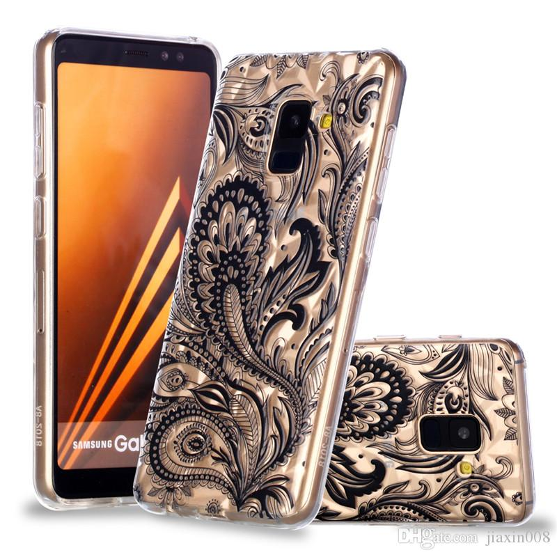 Classy Soft TPU back Covers For Samsung Galaxy A8 Plus 2018 Case Coque  Relief Diamond stripes luxury Designer Mobile Phone Shell