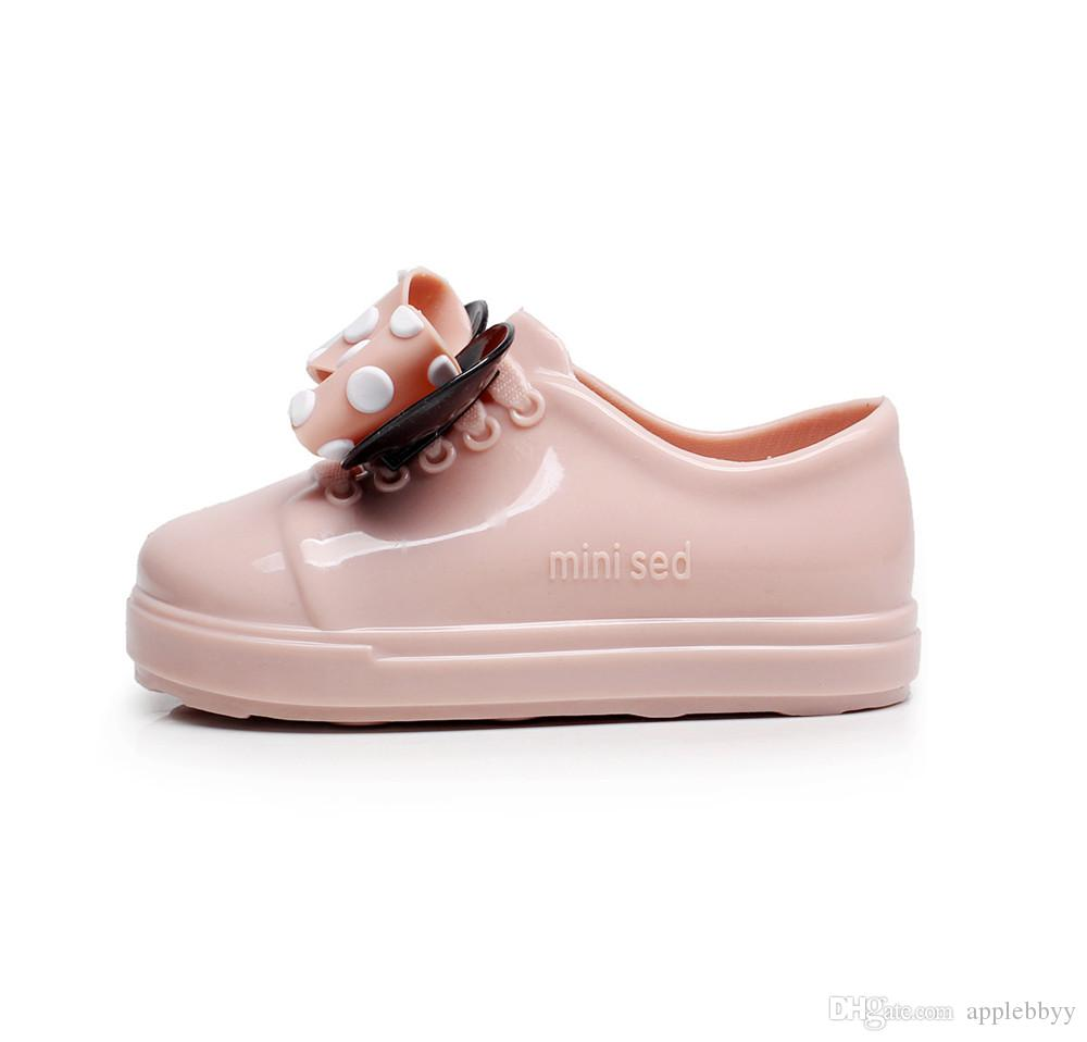 Mini Meliss Jelly plastic boys and girls bow wave shoes shoes strap waterproof non-slip boys shoes DHL