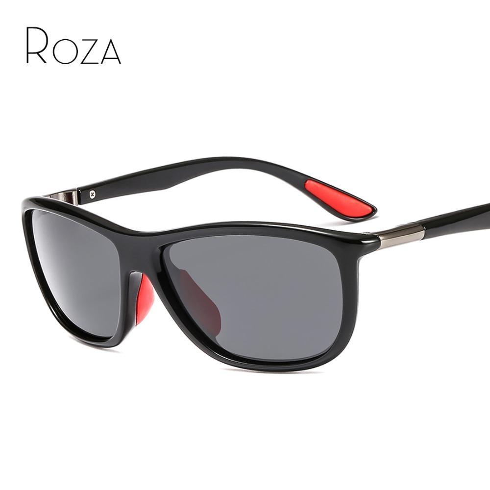 1017bc7874422 Compre ROZA Polarized Óculos De Sol Dos Homens Personalidade Moldura De  Plástico Marca Designer Popular Óculos De Sol Para O Sexo Masculino Gafas  De Sol ...